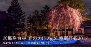 高台寺の桜の万華鏡ライトアップ!春の特別拝観2017の紹介/写真20枚