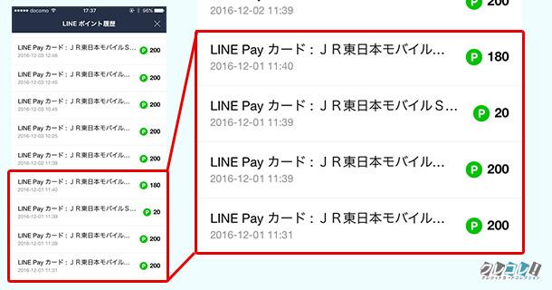 LINE PayカードでモバイルSuicaにチャージすると2%貯まる